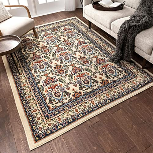 Well Woven Barcelona Ivory Modern Sarouk 9×13 9'3″ x 12'6″ Area Rug Updated Traditional Persian Panel Carpet