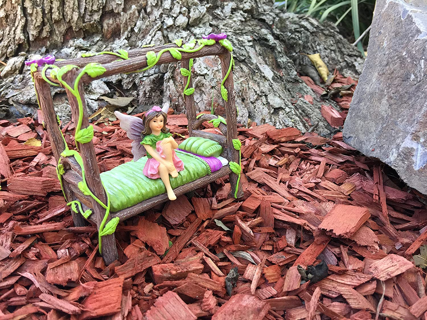 A Fairy Garden Accessory Miniature Fairy and Baby Gnome Bed a 4-Post Miniature Bed for your Fairy and Gnome Garden Pixies and Sprites