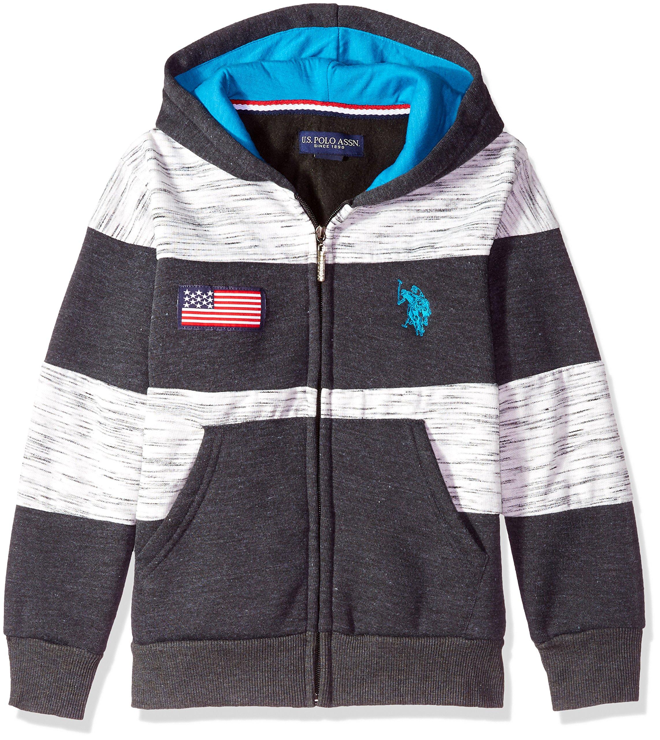 U.S. Polo Assn. Little Boys' Hooded Zip or Snap Fleece Jacket, American Flag Chest Dark Heather Gray 4