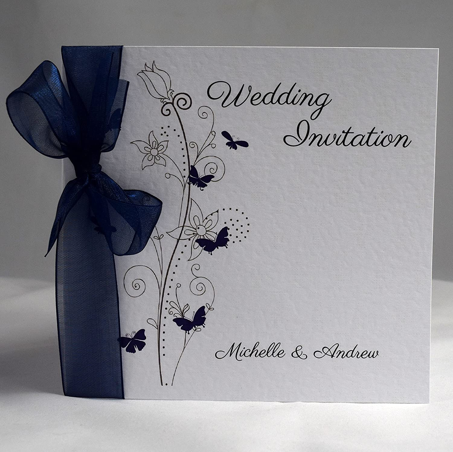 Butterfly Wedding Invitations Personalised with Ribbon (Available in Many Colours) (Royal Blue Organza) Packs of 10 Invitations by Shell Windsor