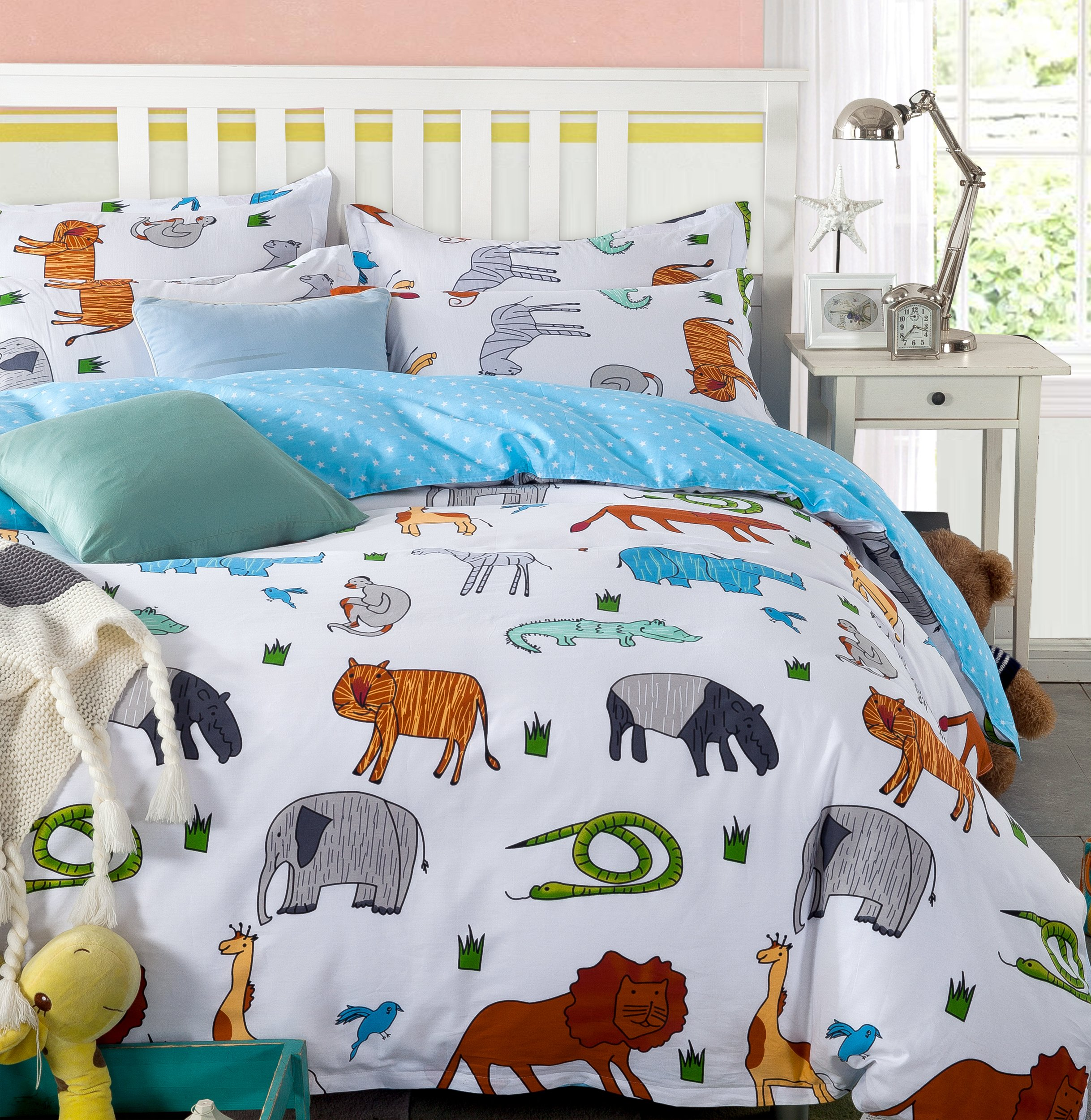 LELVA Cartoon Bedding Set Animal Print Duvet Cover Set Kids Bedding for Girls and Boys Children's Bedding (Queen, Fitted Sheet Set)
