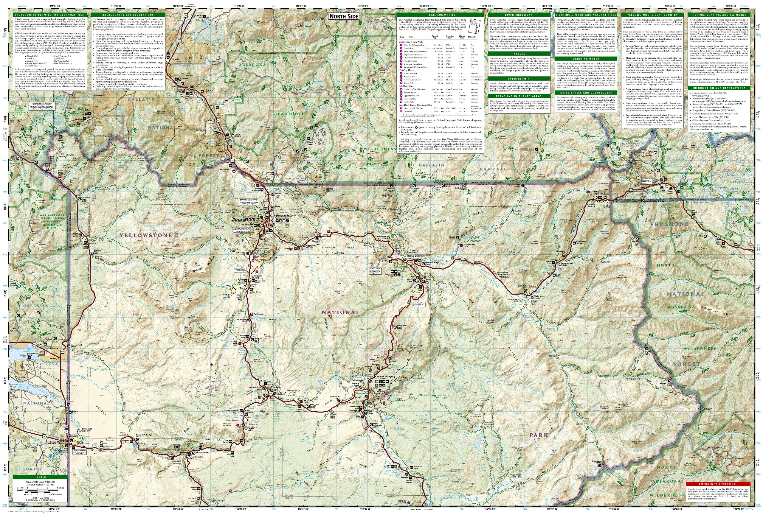 Topographic Map Of Yellowstone.Yellowstone Trails Illustrated Map Np201 Gps Compatible Amazon