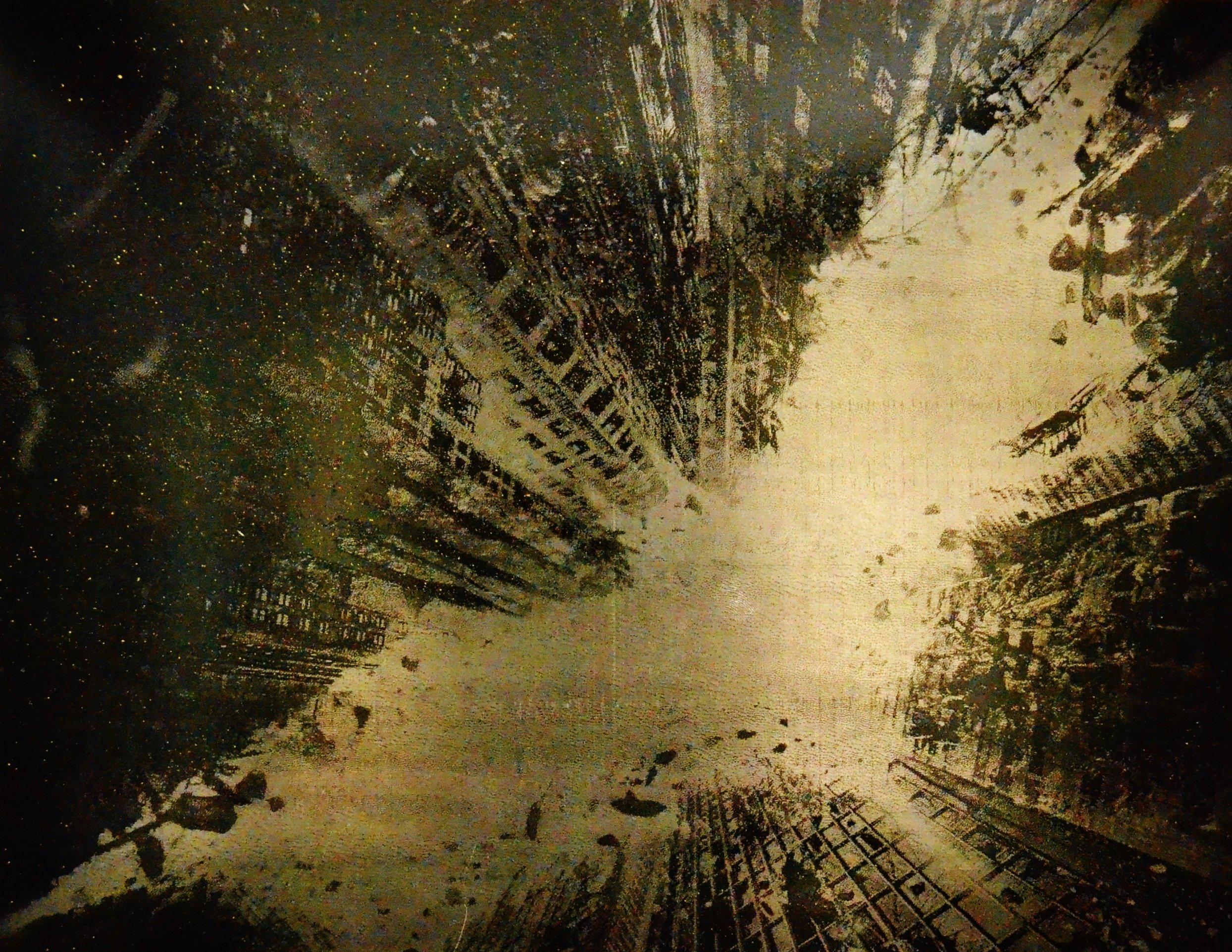 Dark Knight Bat in the Sky Movie Poster Metal Spray Paint Art by Art of Steel