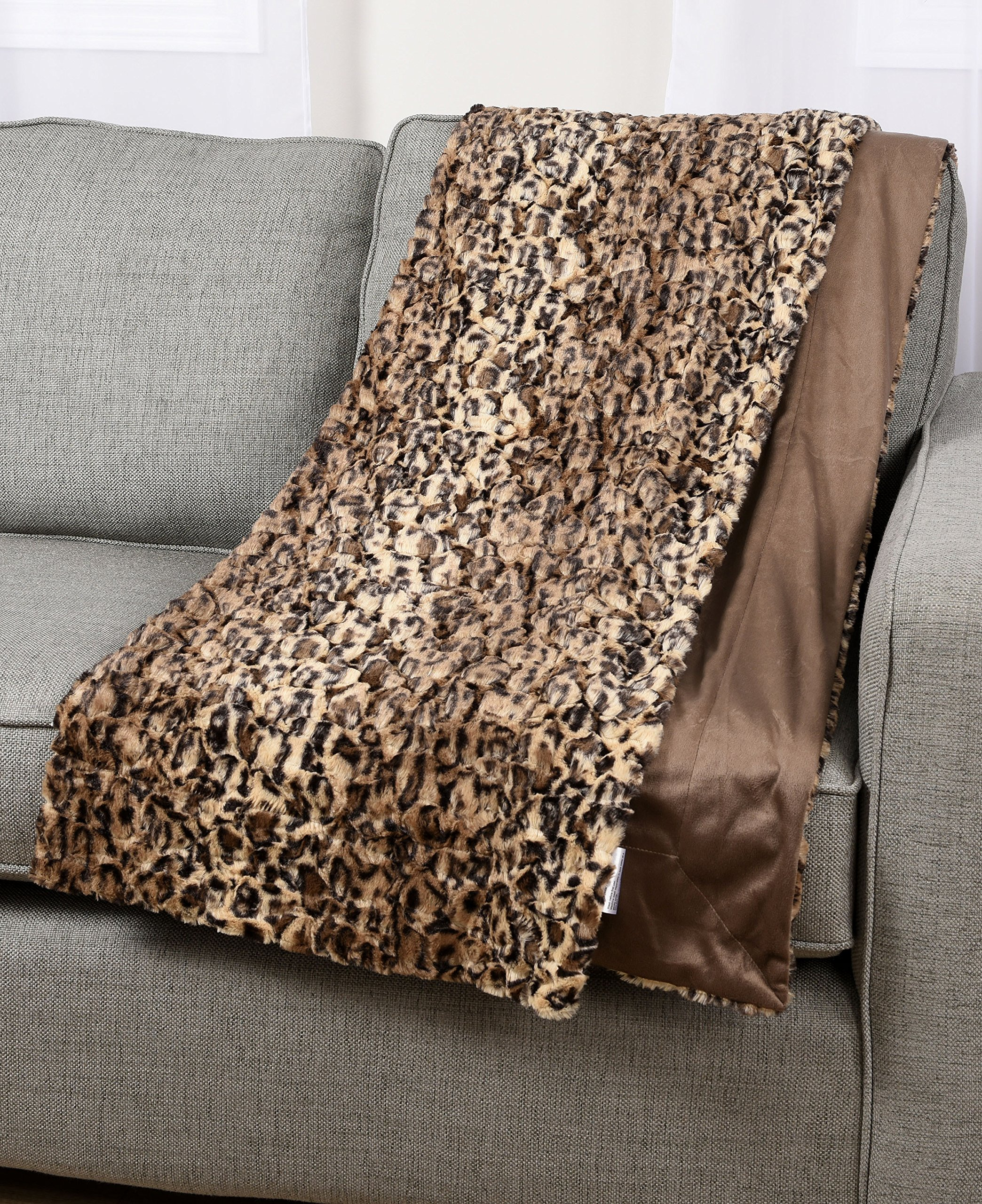 Animal Leopard Print Plush Faux Fur Micromink Brown Super Soft Fleece Throw Brand New Reversible Adults Comfortable Cover Blanket 50x60-inch