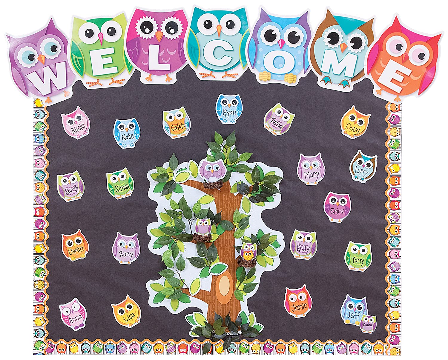 amazoncom carson dellosa colorful owl welcome bulletin board set 110192 carson dellosa publishing office products