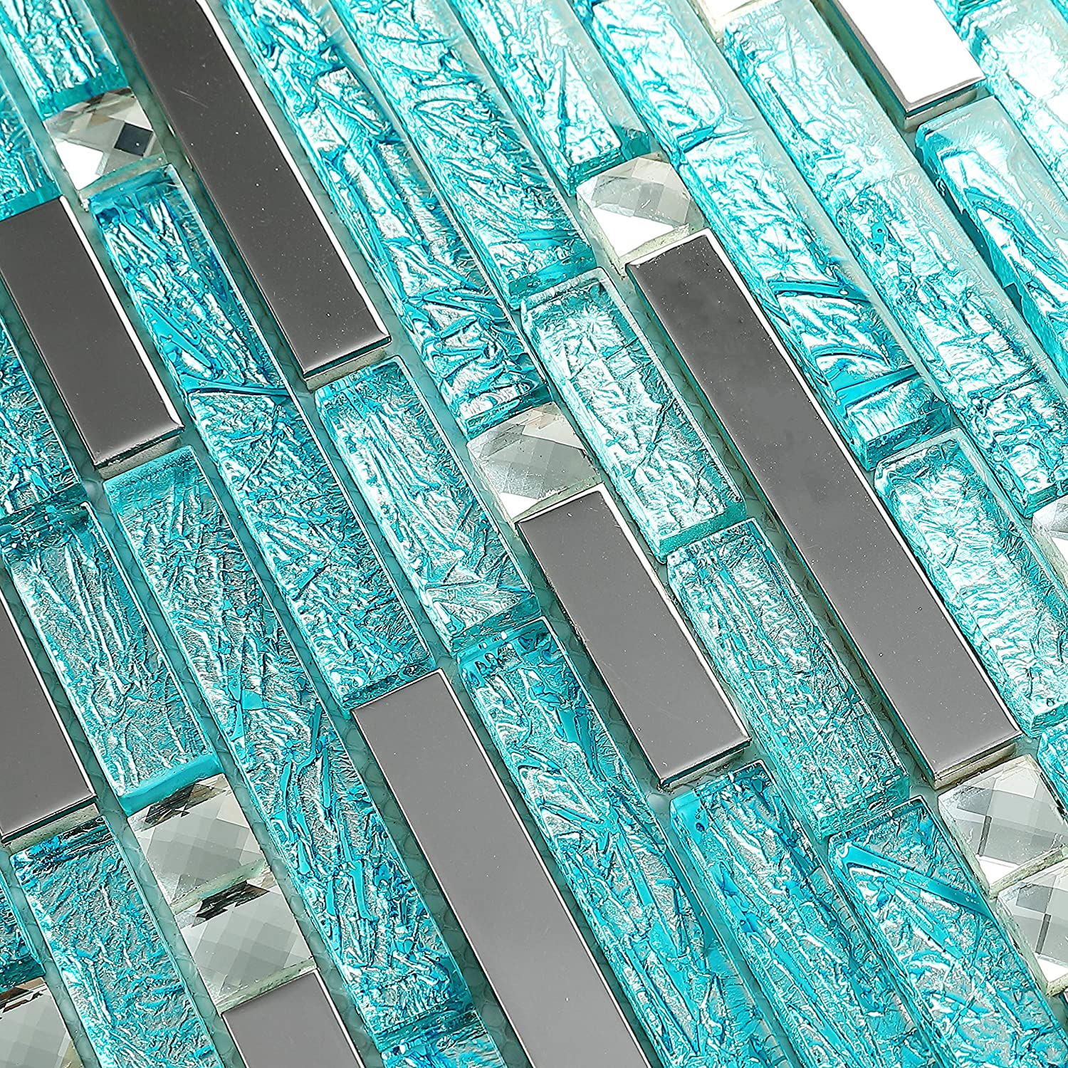 Hominter 5 Sheets Silver Stainless Steel Tile Cyan Blue Crystal Glass and Metal Wall Tiles for Kitchen Backsplash Bathroom and Shower H20