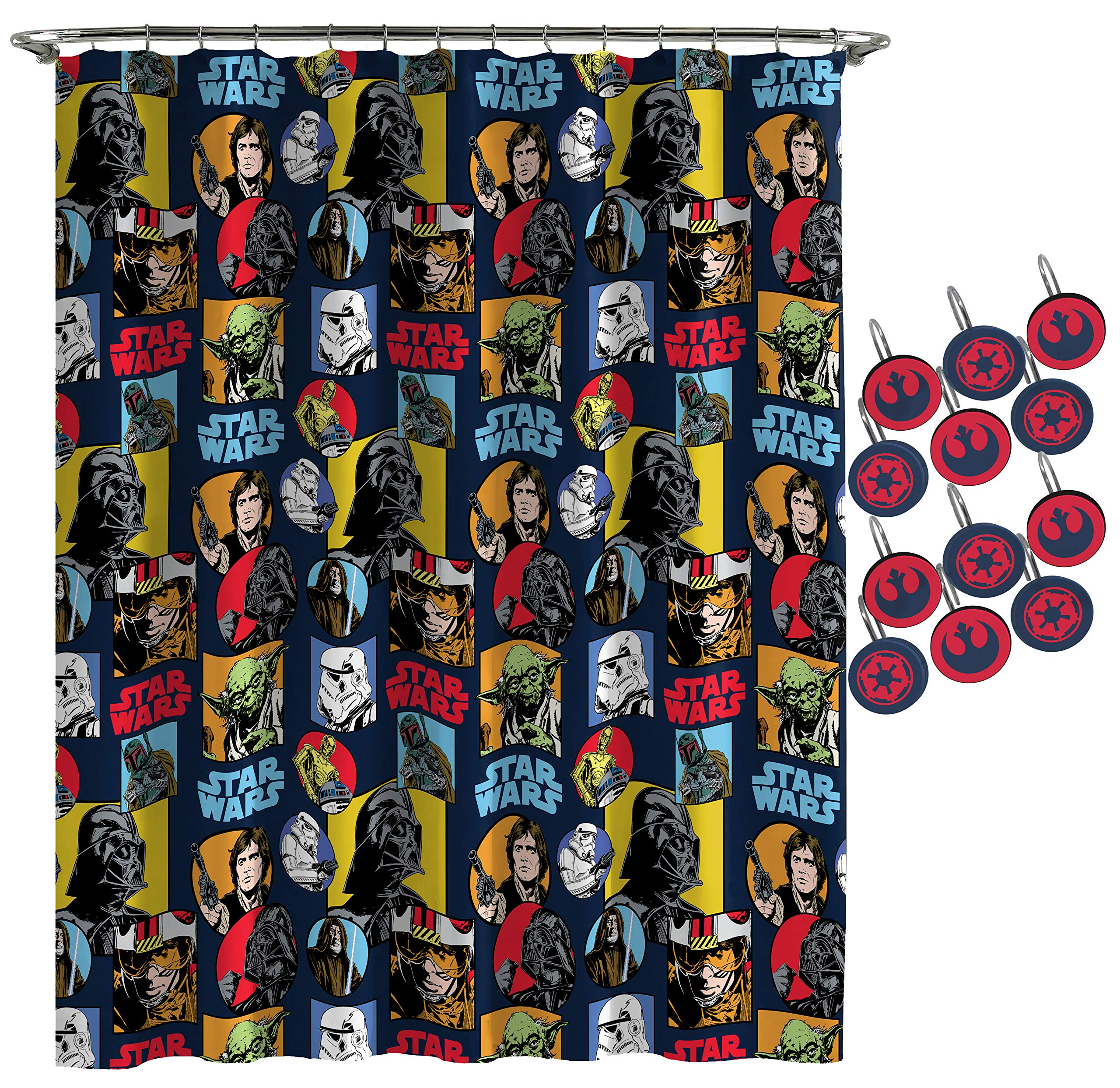 Jay Franco Star Wars Galactic Grid Shower Curtain & 12-Piece Hook Set & Easy Use - Kids Bath Set Features Darth Vader & Han Solo (Official Star Wars Product)