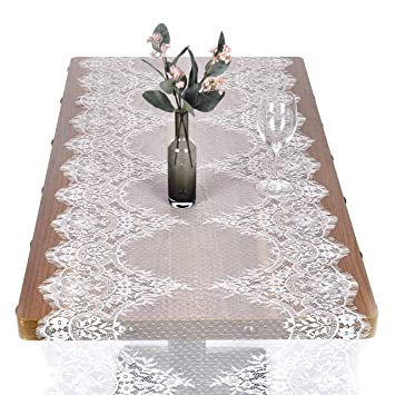 Breeze Talk 22 X 120 White Lace Table Runner Overlay Rustic Chic Wedding Reception Table Decor Boho Party Decoration Baby Bridal Shower Decor 22