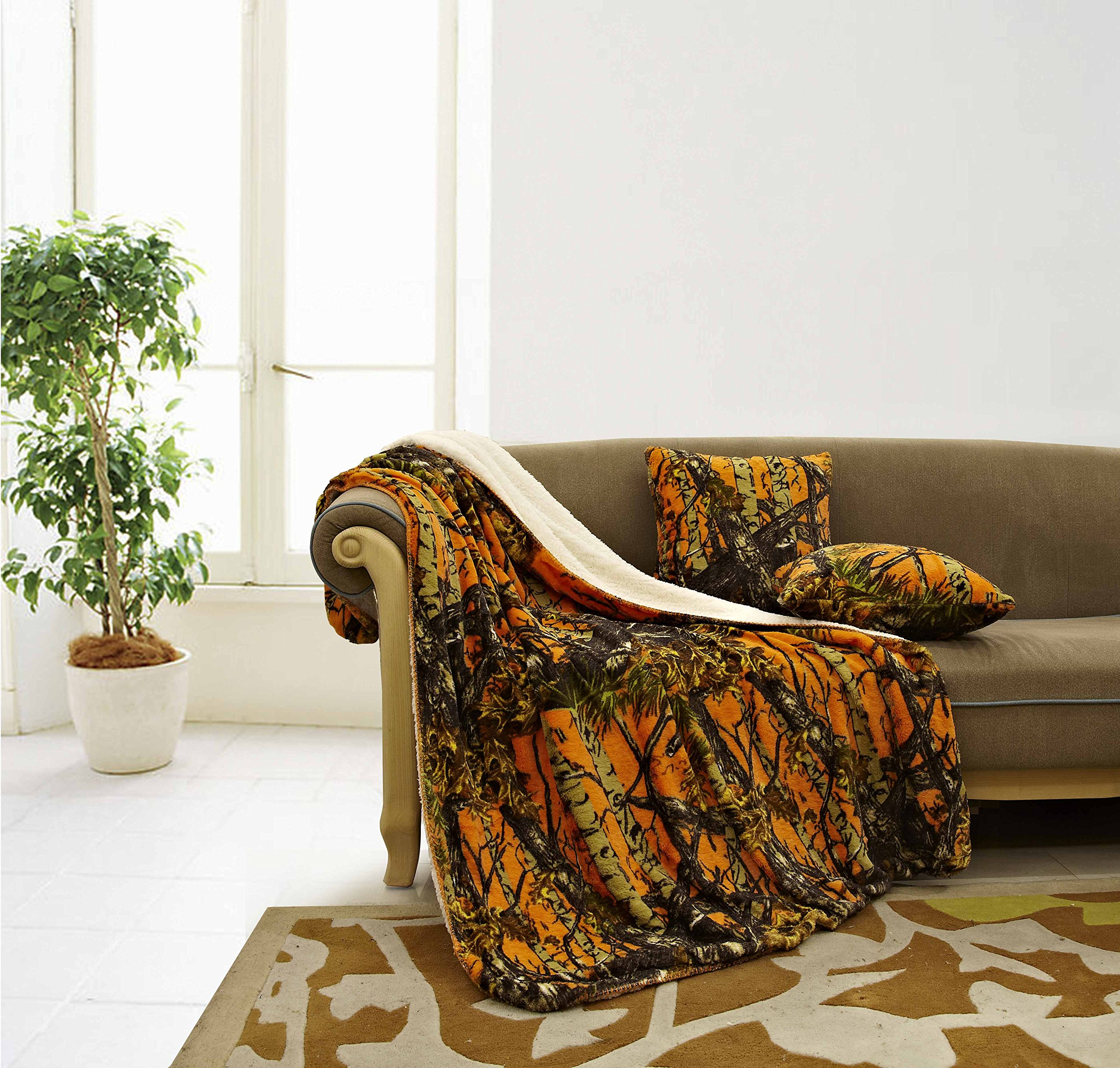 The Woods Luxury 3pc Set Orange Sherpa 50''x70'' Fleece Blanket and 18''x18'' Plush Throw Pillows by Regal Comfort Home Collection - Siesta Throw Blankets with 2pc Decorative Pillows For Sofas and Couches