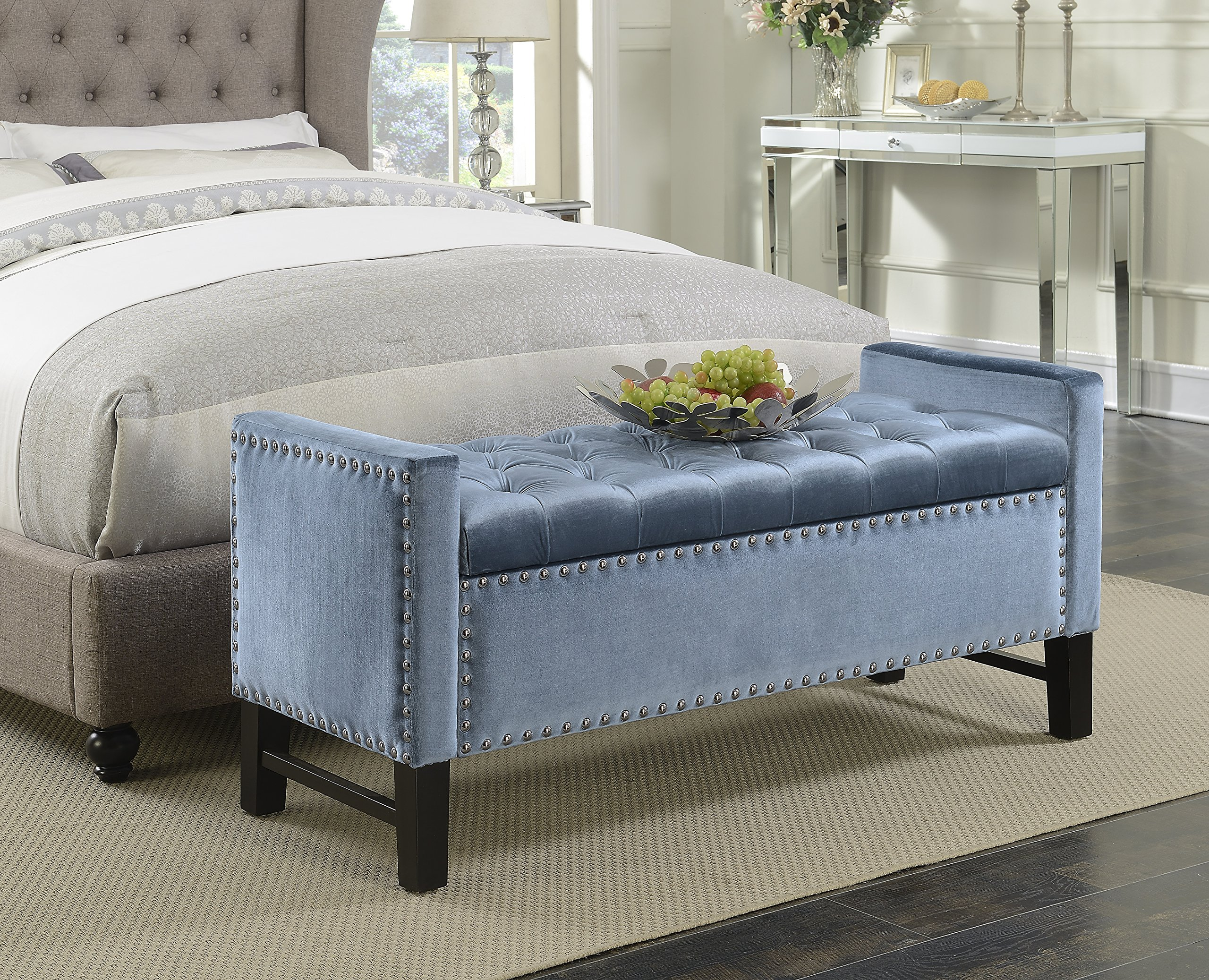 Iconic Home Marcus Neo Traditional Velvet Tufted Storage Bench, Slate Blue
