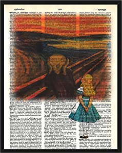 Alice in Wonderland Wall Decor Alice in Edvard Munch's The Scream Alice in Wonderland Dictionary Art Print Mixed Media Print 8x10