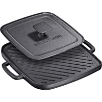 Bruntmor Cast Iron Single Burner Reversible Grill with Heavy Grill Press