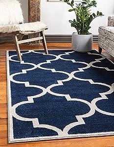 Unique Loom Trellis Collection Moroccan Lattice Navy Blue Area Rug (8' 0 x 11' 0)