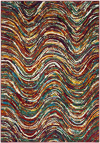 Safavieh Aruba Collection ARB503M Modern Abstract Wavy Multicolored Area Rug 4 x 6