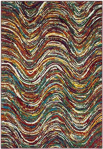 Safavieh Aruba Collection ARB503M Modern Abstract Wavy Multicolored Area Rug 4 x 6