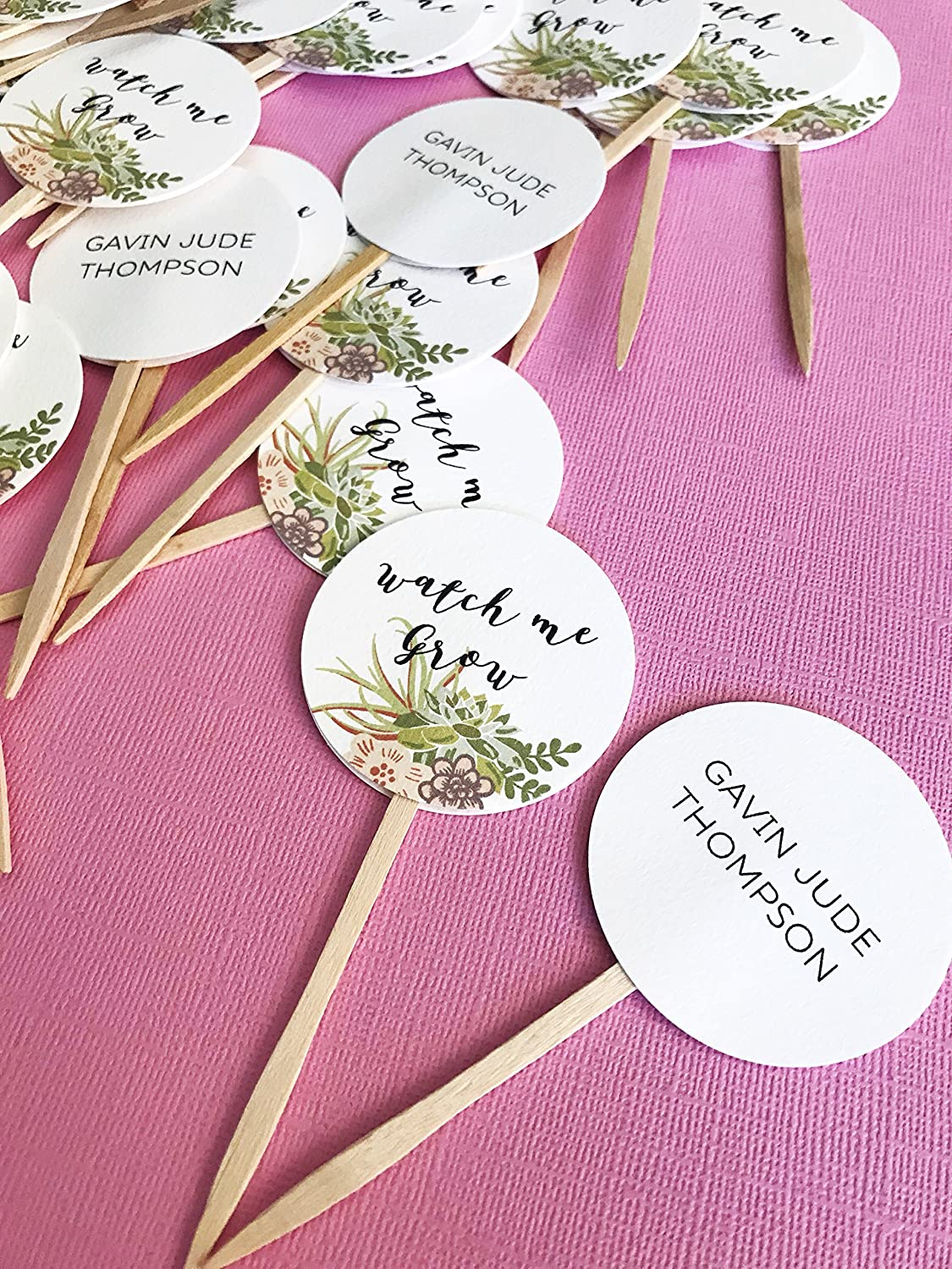 Amazon.com: Watch Me Grow Favor Tags sticks, Let Love Grow, custom ...