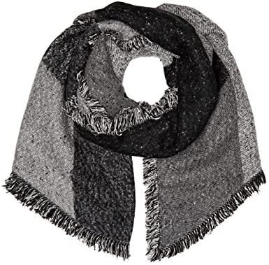 Levi s Assymetrical Fringe Wrap, Echarpe Femme, Gris (Noir Regular Grey 55), afbfd7ac345