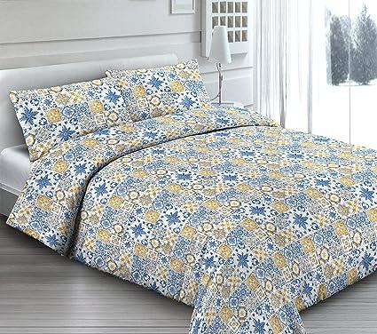 Parure Copripiumino Matrimoniale Ikea.Copripiumino In 100 Cotone Piazza E Mezza Per Letto Ikea Blu Giallo