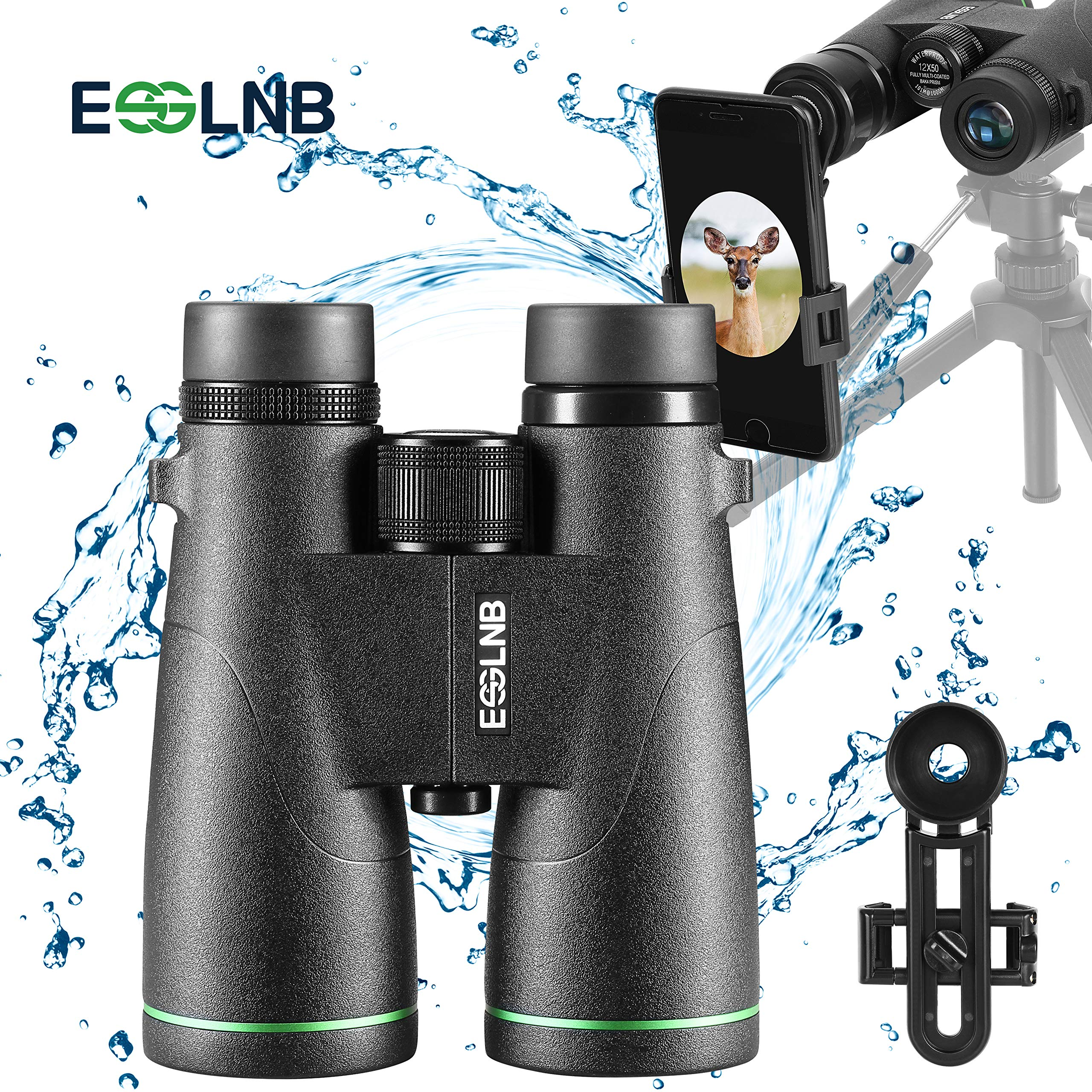 ESSLNB Astronomy Binoculars for Adults 12x50 100% Waterproof Binoculars BAK4 Fully Multi-Coated Compact Binoculars with Phone Adapter for Bird Watching Hunting with Carrying Bags and Strap by ESSLNB