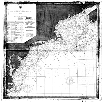 18 x 24 canvas 1893 other old nautical map drawing chart of atlantic coast cape