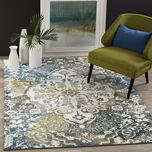 Safavieh Water Color Collection WTC669B Ivory and Peacock Blue Area Rug, 4 x 6
