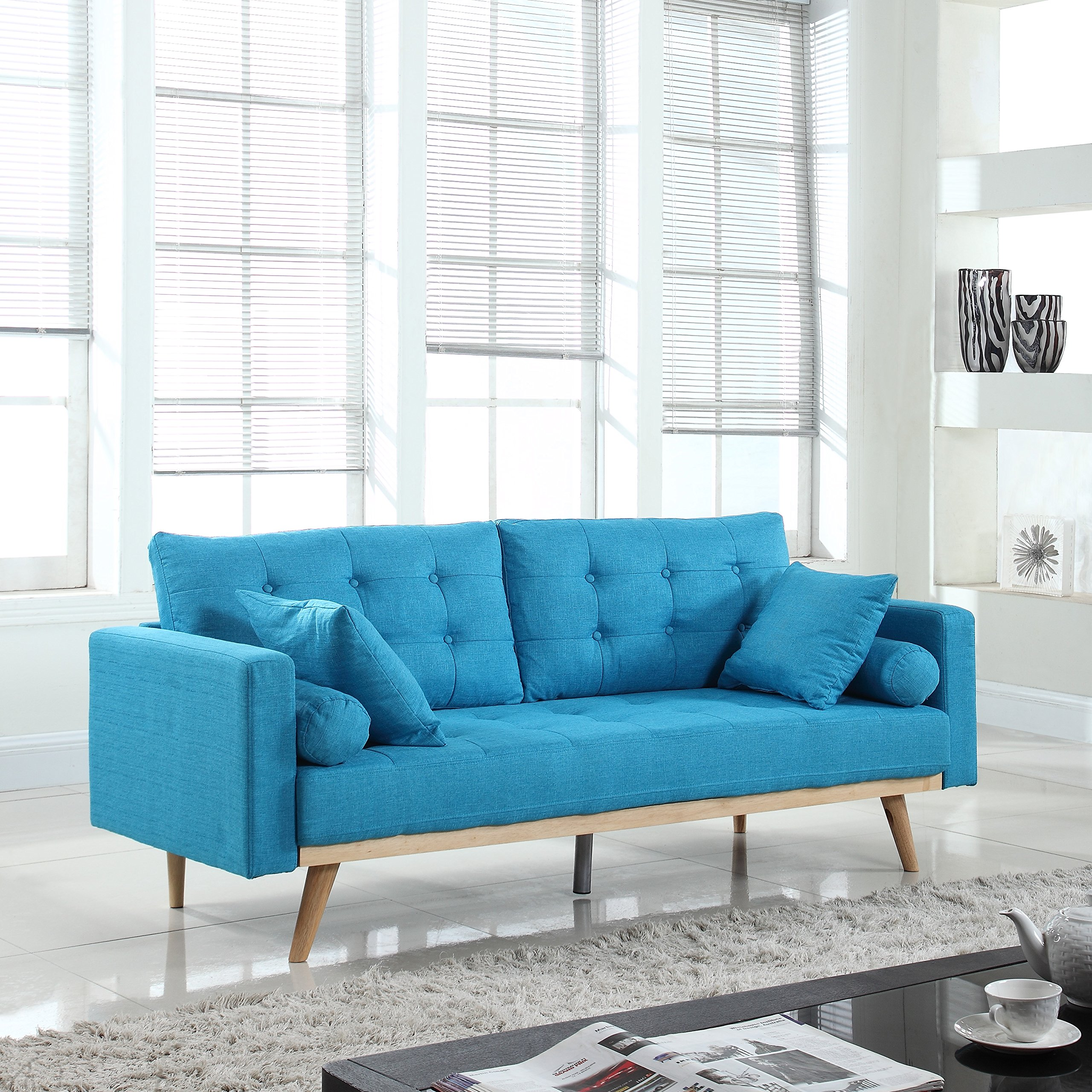 Madison Home Tufted Linen Mid-Century Modern Sofa Light Blue by Divano Roma Furniture