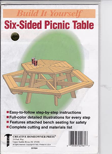 Amazon.com : Built It Yourself Pattern Six-Sised Picnic Table ...