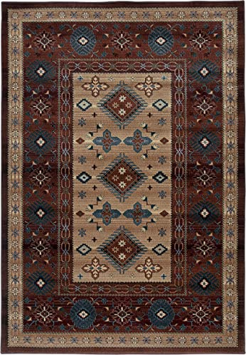 Rizzy Home Bellevue Collection Polypropylene Area Rug, Tan Ivory Brown Blue Burgundy Southwest Tribal
