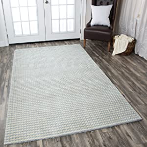 Rizzy Home Platoon Collection Wool Area Rug, 5' x 8', Blue/Gray/Khaki Checker