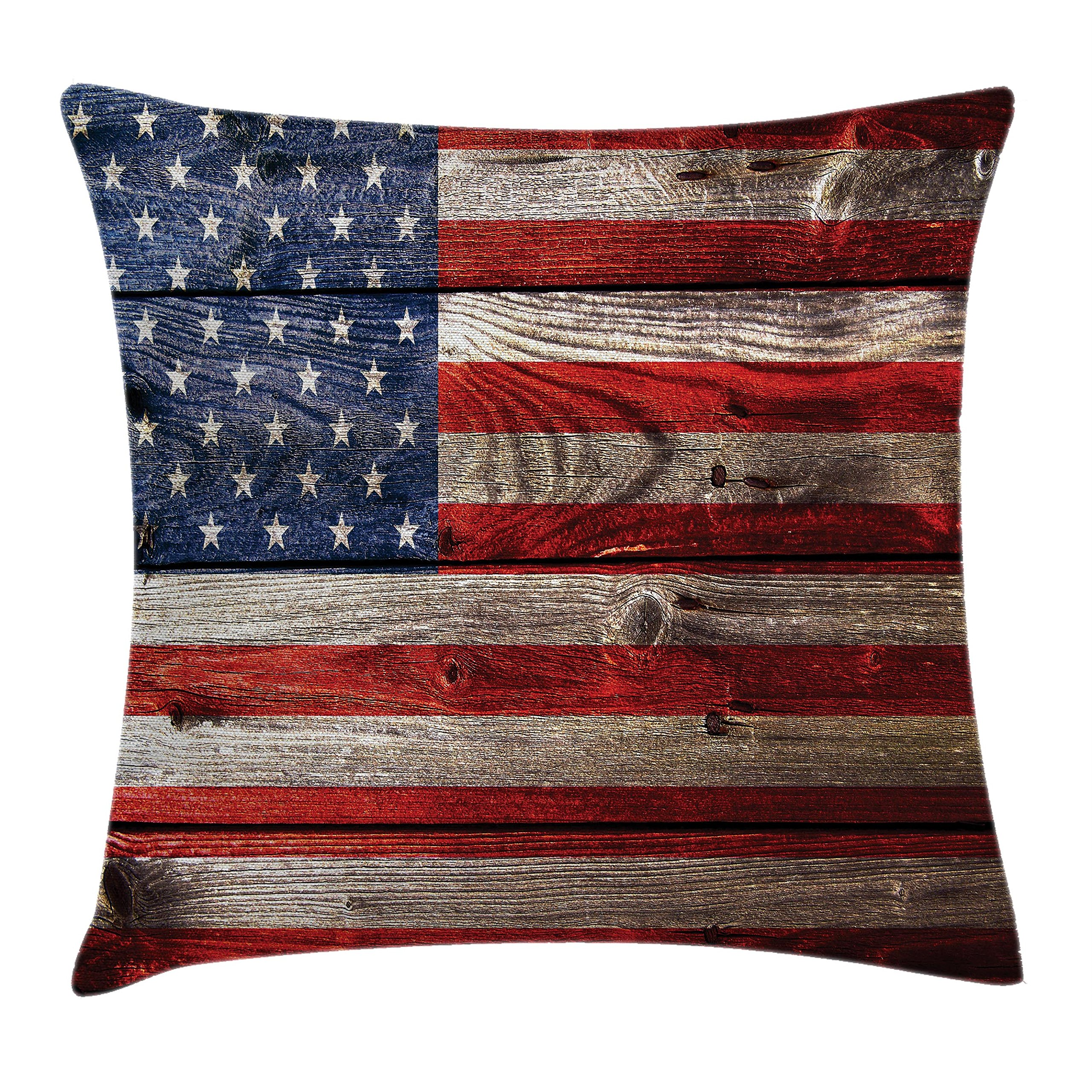Ambesonne American Flag Throw Pillow Cushion Cover, Independence Day Weathered Retro Wood Wall Looking Country Emblem, Decorative Square Accent Pillow Case, 20 X 20 Inches, Red White and Blue