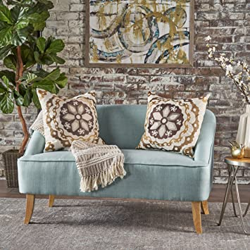 Magnificent Jasper Mid Century Modern Fabric Loveseat Light Blue Pabps2019 Chair Design Images Pabps2019Com