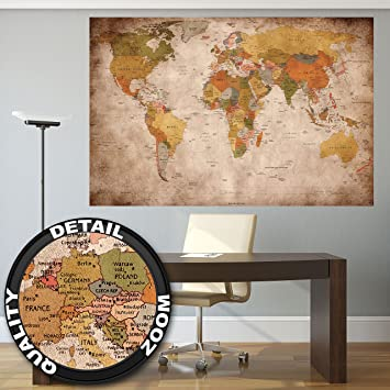 Poster Used Look U2013 Wall Picture Decoration Globe Continents Atlas World Map  Earth Geography Retro Old Part 79