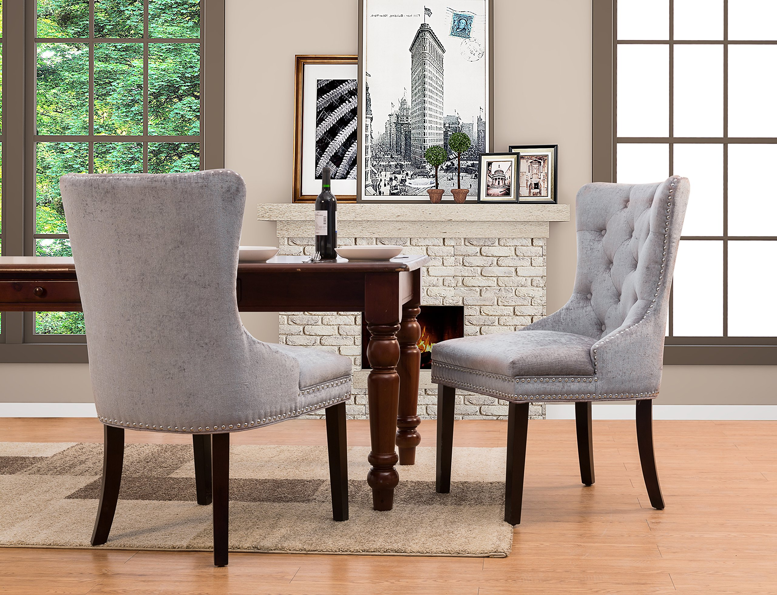 Iconic Home Diana Dining Side Accent Chair Button Tufted Velvet Upholstery Nail Head Trim Tapered Espresso Wood Legs, Modern Transitional, Grey, Set of 2 by Iconic Home
