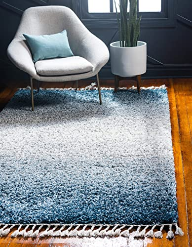 Unique Loom Hygge Shag Collection Gradient Solid Plush Cozy Area Rug