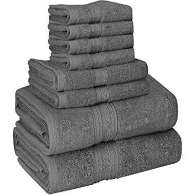 Utopia Towels Luxurious 700 GSM Thick 8 Piece Towel Set Grey; 2 Bath Towels, 2 Hand Towels and 4 Washcloths - 100% Ring-Spun Cotton, Hotel Quality for Maximum Softness and High Absorbency