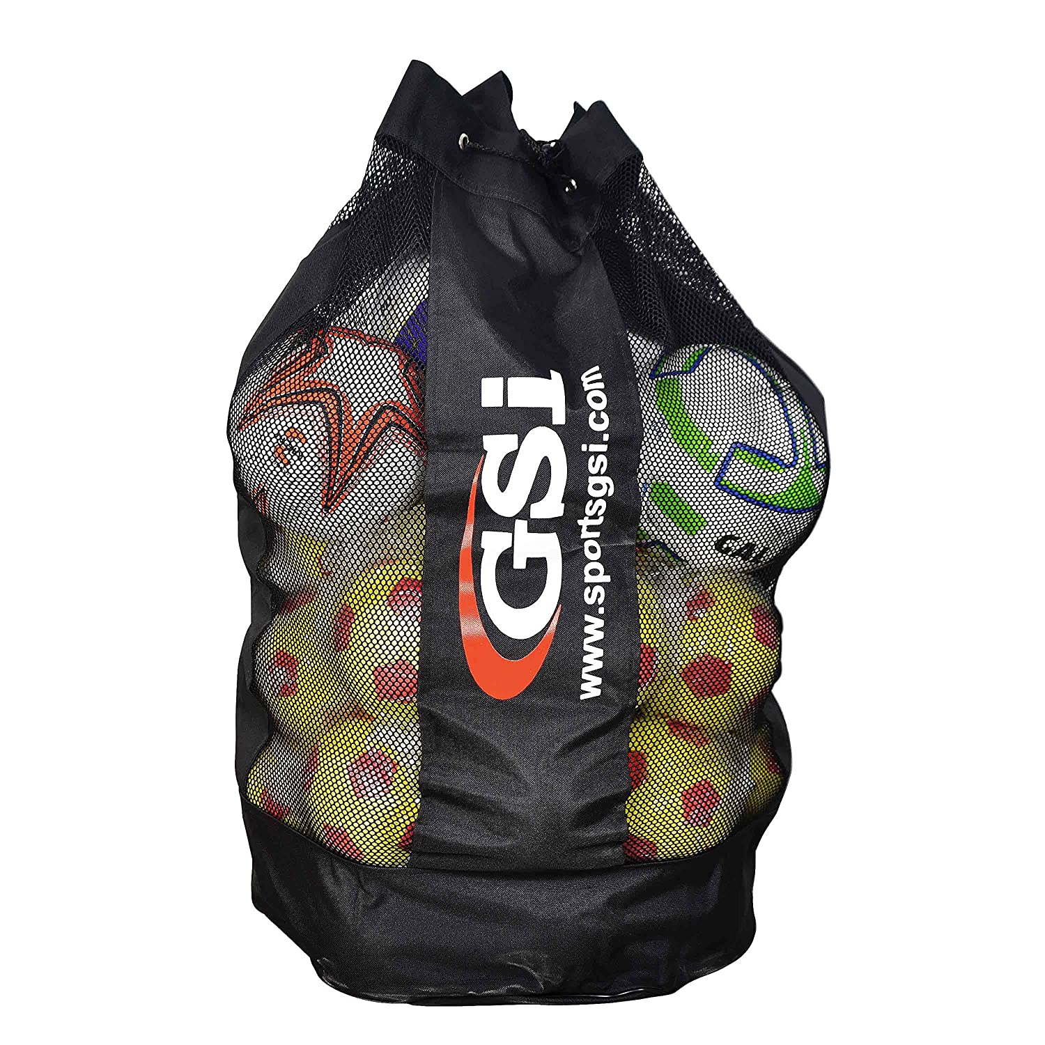 GSI Foldable Mesh Ball Storage Bag with Carrying Strap, Drawstring Closure, Alternate mesh Panels for Football, Basketball, Volleyball, Handball and Other Inflatable Balls (18 Balls)