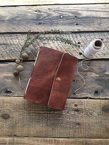 2dee1cf4f8 Amazon.com: Cognac Leather Brass Stud Closure Journal: Handmade