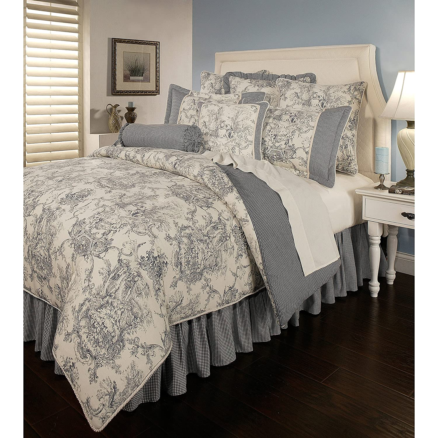 6 Piece Queen, Cottage Shabby Chic Classic Toile Pattern Comforter Set, Victorian French Country Check Design, Mid-Century Gingham Farmhouse Themed, Reversible Bedding, Adorable Blue, Taupe Color