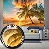 Plage de la Barbade au coucher du soleil Image murale par GREAT ART XXL Poster Décoration murale by GREAT ART (210 cm x 140)