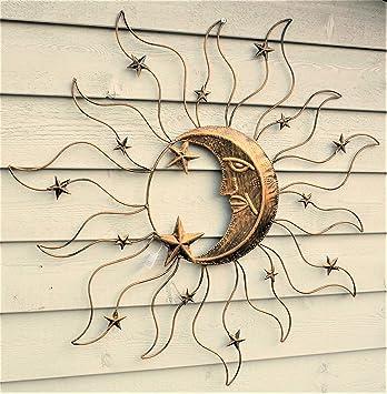 Wandbild Sonne Mond Und Sterne Wanddekoration Wandbild Garten Deko Metall  Gartendekoration