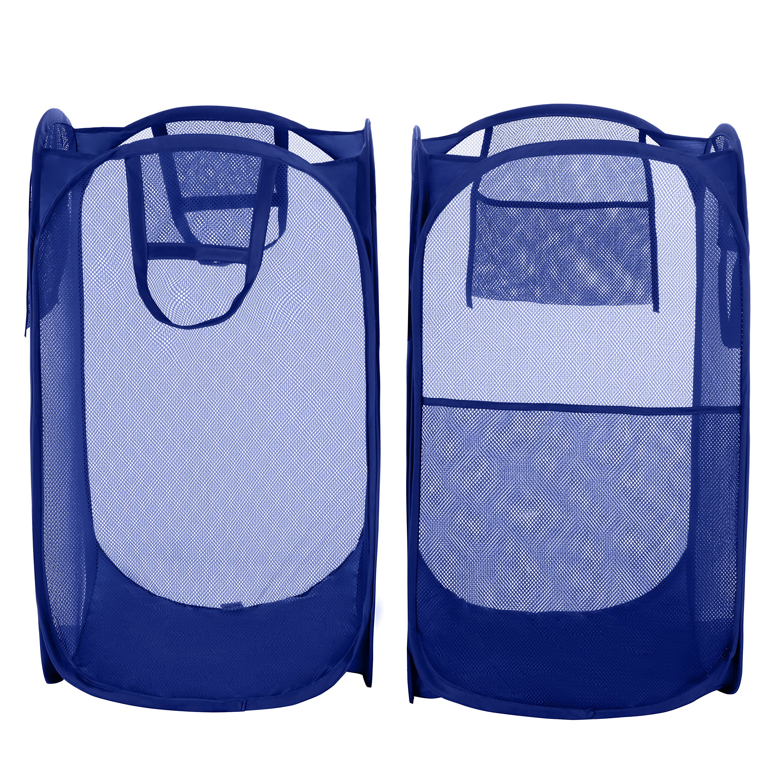 Bagail 2-Pack Pop-up Mesh Laundry Hamper with Reinforced Carry Handles,Foldable Collapsible Laundry Basket with Side Pocket by BAGAIL (Image #1)