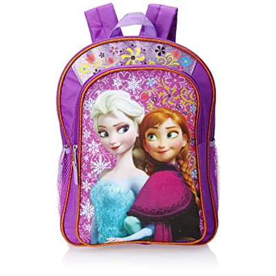 Disney Frozen Anna & Elsa Big Girls' Backpack Purple with Amber Trim, Purple, One Size | Kids' Backpacks
