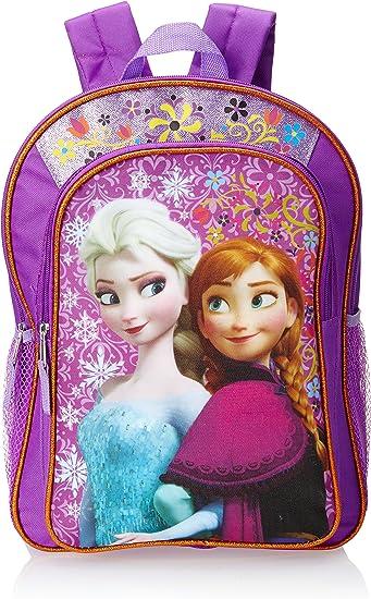 "Disney Frozen 16/"" backpack purple Elsa and Anna rucksack school bag Girls"