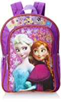 Disney Frozen Anna & Elsa Girl's Backpack Purple with Amber Trim