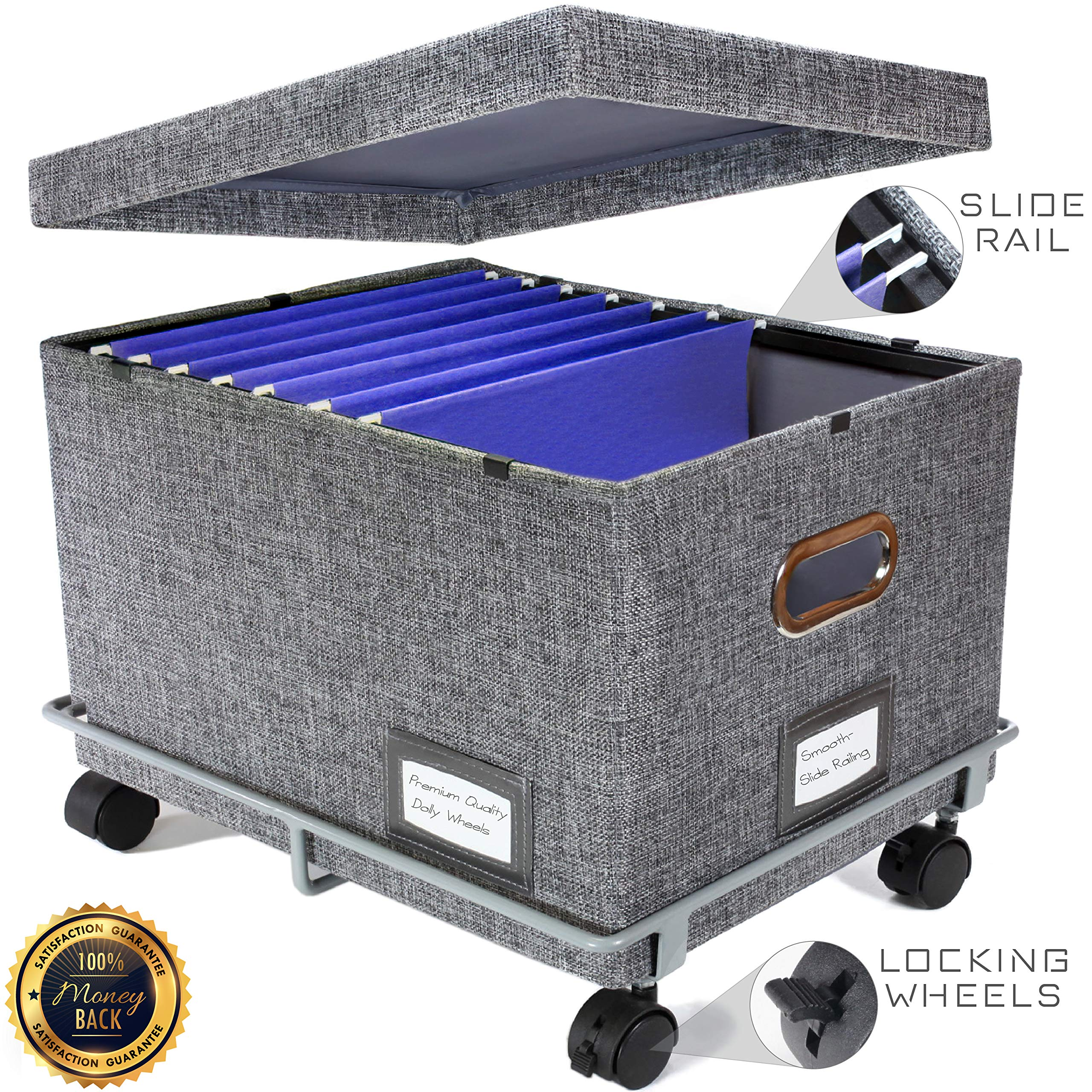 Premium Collapsible File Storage Organizer with Dolly Wheels | Office Hanging File Box | Smooth Sliding Rail | Fits Letter/Legal | Charcoal | 1 Pack by Premium Office Goods