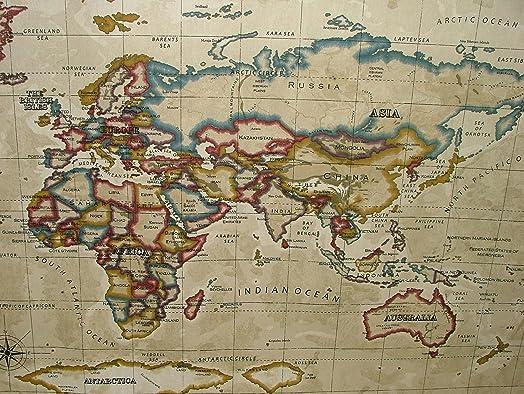 Prestigious atlas world map antique designer curtain upholstery prestigious quotatlas world mapquot antique designer curtain upholstery fabric gumiabroncs Gallery