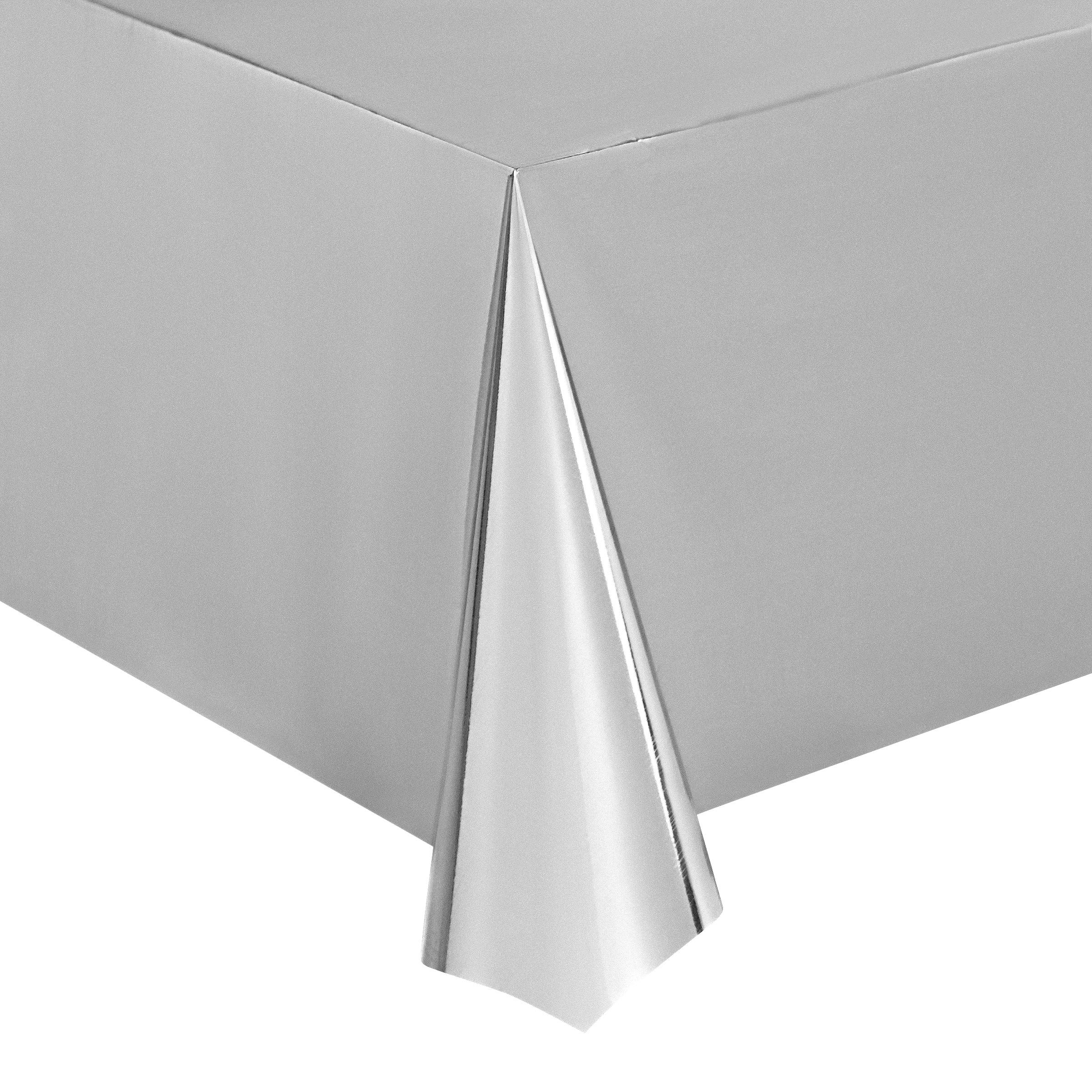 Juvale Silver Foil Tablecloth - 6-Pack 54 x 108 Inch Shiny Plastic Tablecloth, Fits up to 8-Foot Long Tables, Silver Themed Party Supplies, 4.5 x 9 Feet by Juvale