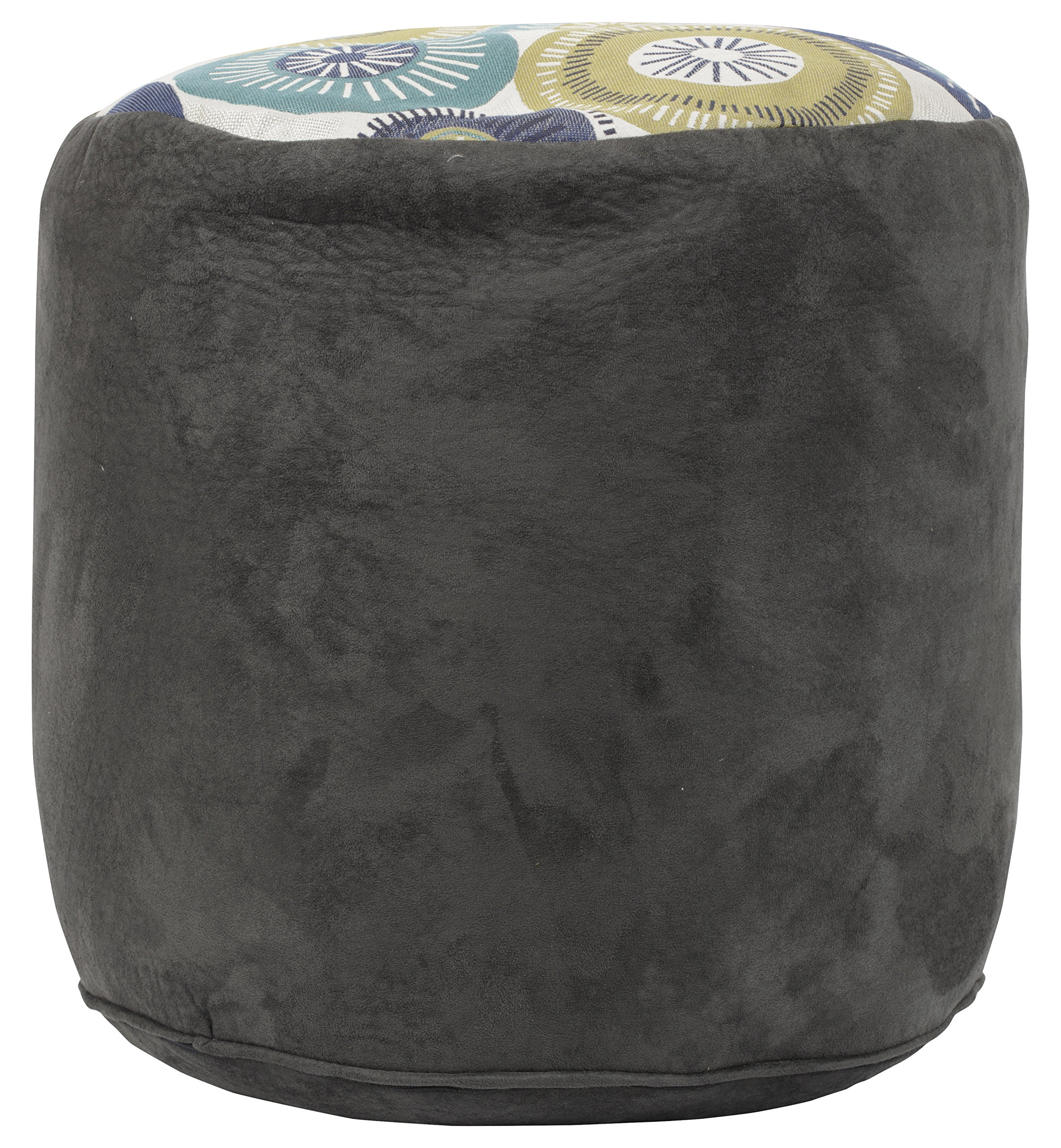 American Furniture Classics Pinwheel Tapestry Pouf Ottoman, Grey