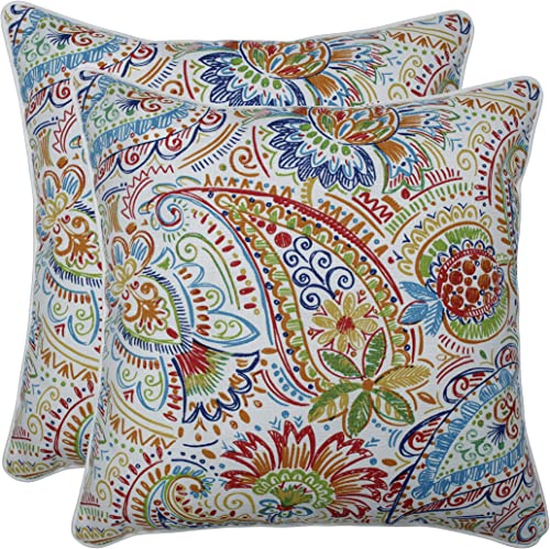 Pillow Perfect Outdoor Indoor Gilford Festival Floor Pillow, 18.5 x 18.5 , Blue, 2 Pack
