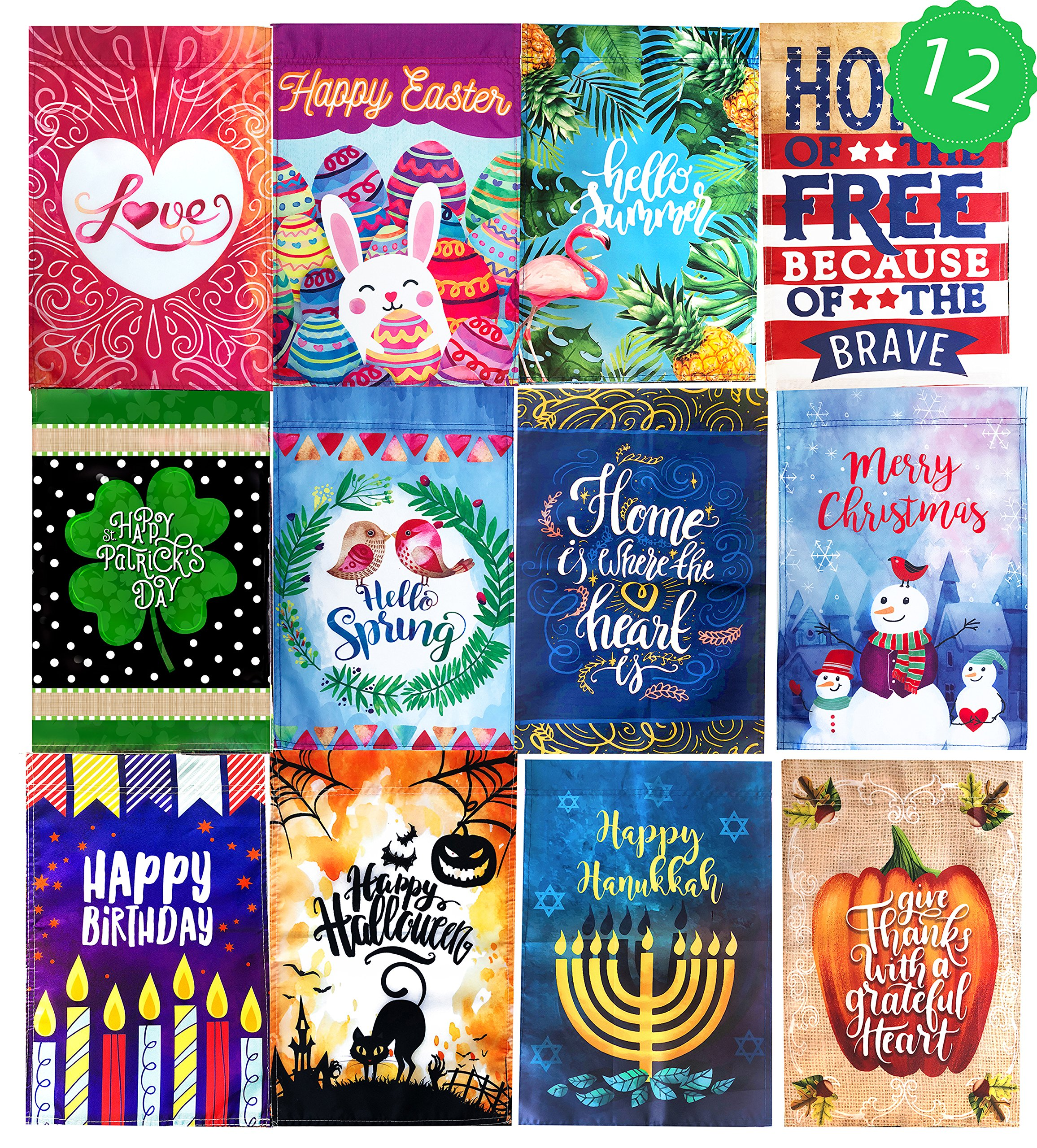 12 Seasonal Holiday Garden Flag Set 12'' x 18''. Decorative Flags for Outdoors - Weather Tested and Fade Resistant USA Designed - Best for Party Yard and Home Outdoor Decor.